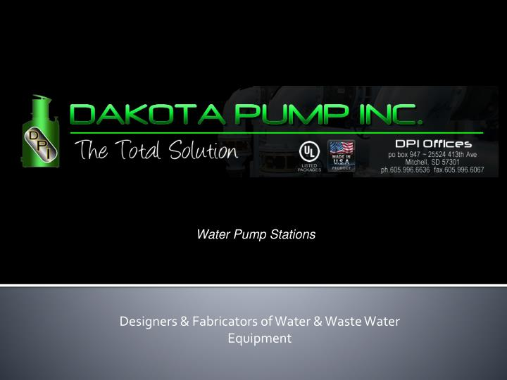 Designers fabricators of water waste water equipment