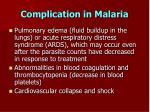 complication in malaria