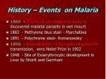 history events on malaria