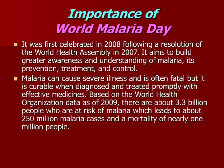 Importance of world malaria day