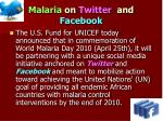 malaria on twitter and facebook