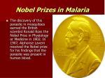 nobel prizes in malaria