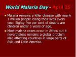 world malaria day april 25