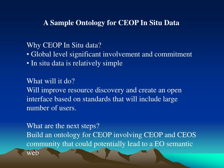 A Sample Ontology for CEOP In Situ Data