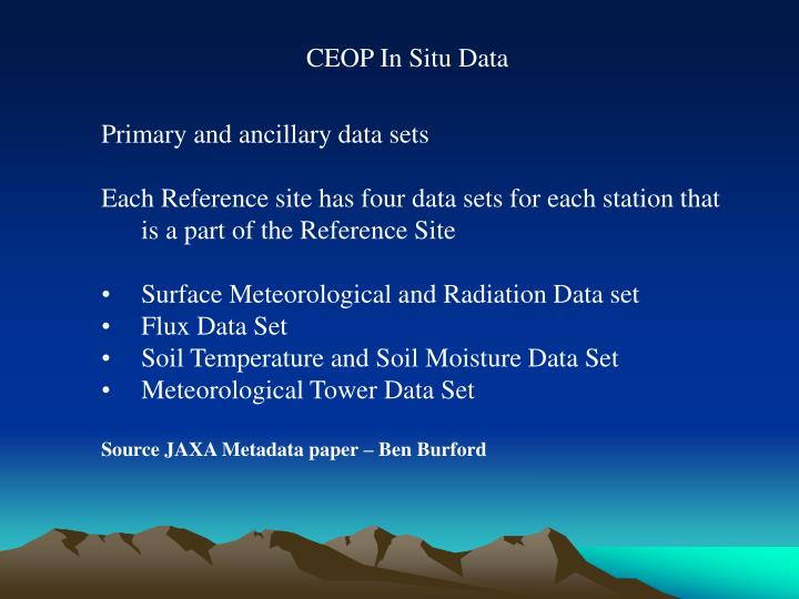 CEOP In Situ Data