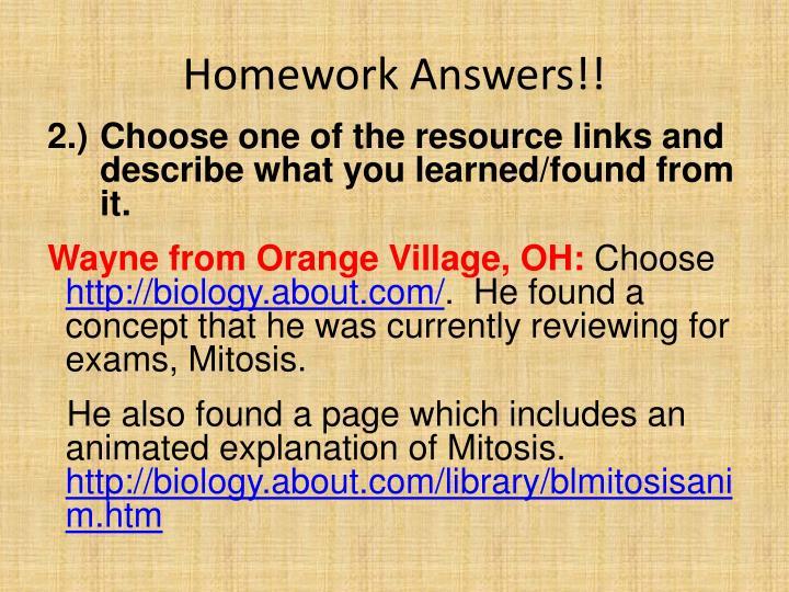 Homework Answers!!