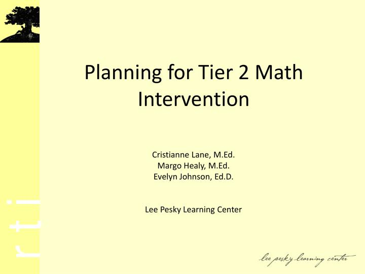 planning for tier 2 math intervention n.