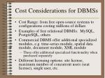 cost considerations for dbmss