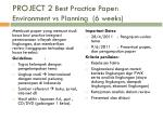 project 2 best practice paper environment vs planning 6 weeks