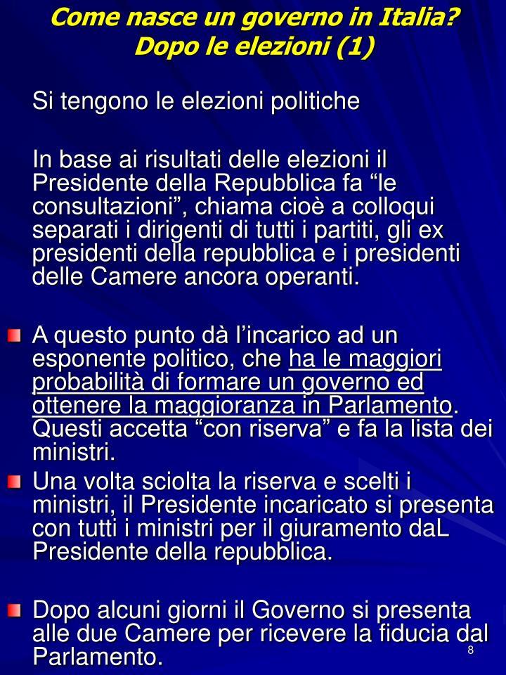 Come nasce un governo in Italia?