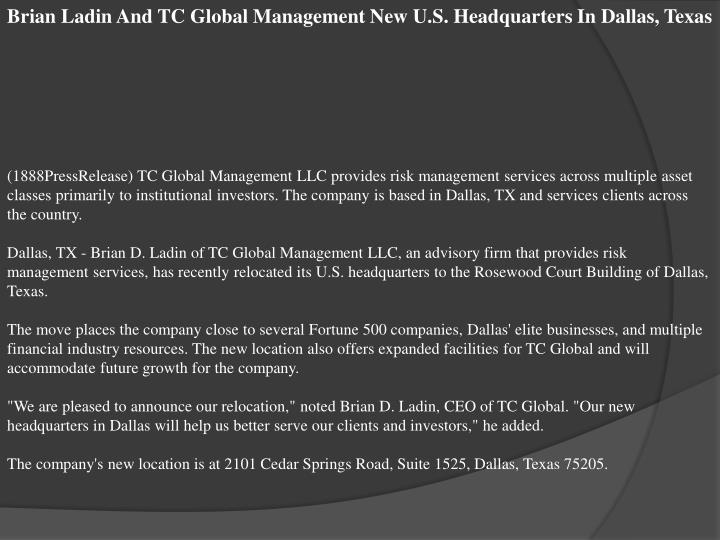 Brian Ladin And TC Global Management New U.S. Headquarters In Dallas, Texas