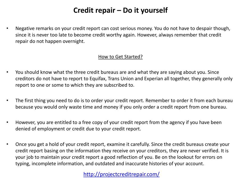 Credit repair – Do it yourself