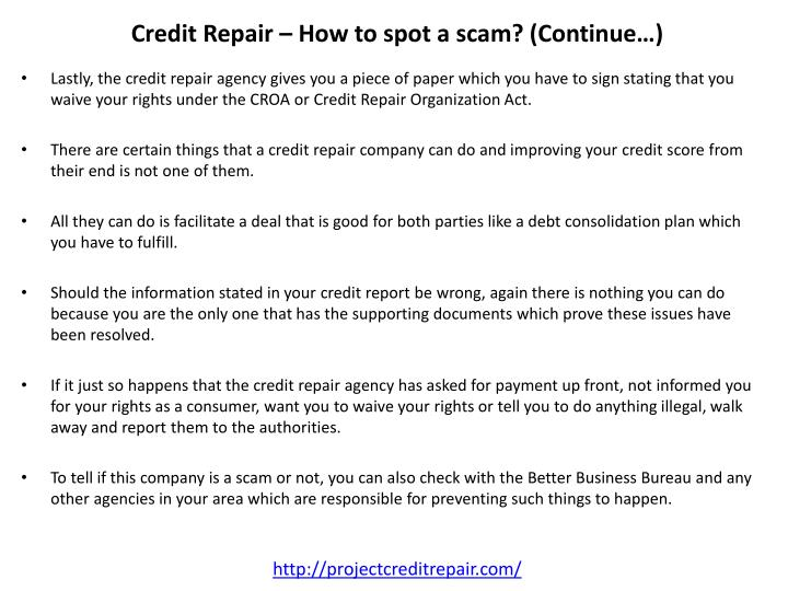 Credit Repair – How to spot a