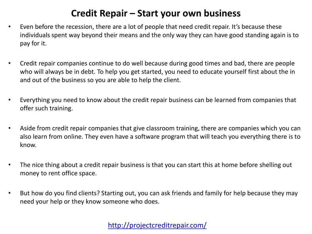 Credit Repair – Start your own business