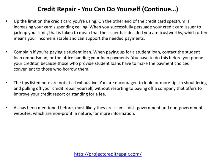 Credit Repair - You Can Do Yourself