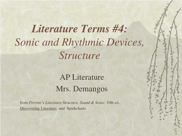 literature terms 4 sonic and rhythmic devices structure n.