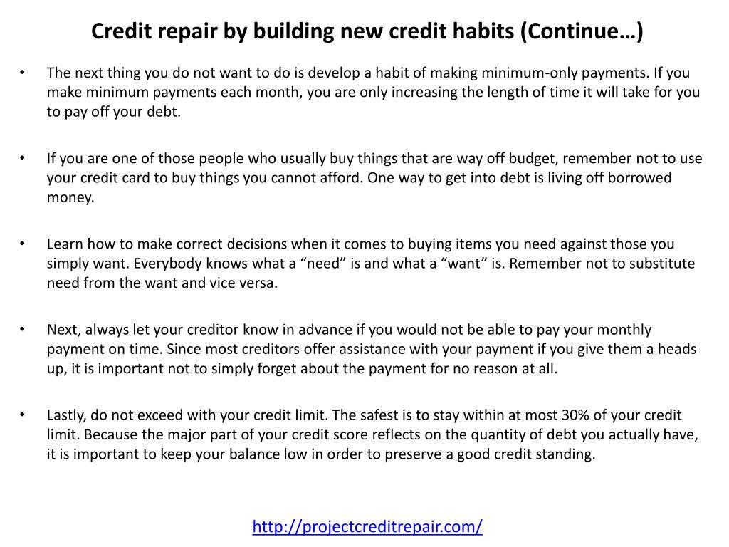 Credit repair by building new credit