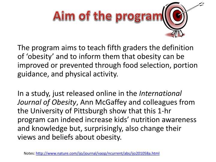 Aim of the program