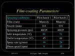 film coating parameters