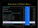 selection of tablet mass