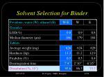 solvent selection for binder
