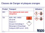 classes de danger et plaques oranges