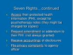 seven rights continued