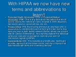 with hipaa we now have new terms and abbreviations to learn