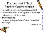 factors that effect reading comprehension