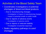 activities of the blood safety team