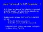 legal framework for fda regulation i