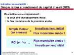 indicateur de rentabilit simple retour et rendement du capital investi rci