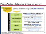 plans d action la base de la mise en uvre