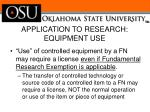 application to research equipment use