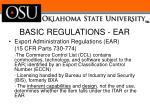 basic regulations ear