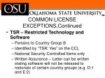 common license exceptions continued