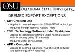 deemed export exceptions