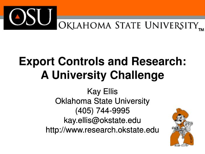 export controls and research a university challenge n.
