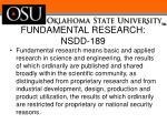 fundamental research nsdd 189