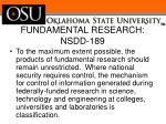 fundamental research nsdd 1891