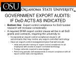 government export audits if dod acts as indicated