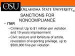 sanctions for noncompliance