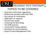 topics to be covered