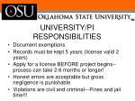 university pi responsibilities
