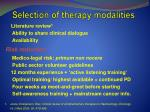 selection of therapy modalities