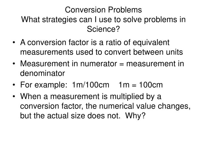 conversion problems what strategies can i use to solve problems in science n.