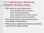 10 fostering policy debate and feedback into policy choice