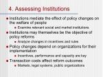4 assessing institutions