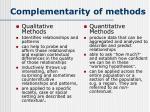 complementarity of methods