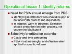 operational lesson 1 identify reforms